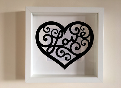 IKEA RIBBA Box Frame Personalised Vinyl Wall Art Quote Love in heart