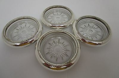 4 Glass Coasters with Silver Colored Trim  Collectable Useable  Vintage       XX