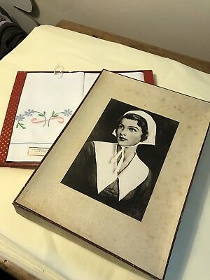Two boxes of Unused Vintage Embroidered Pillowcases Linen Cotton