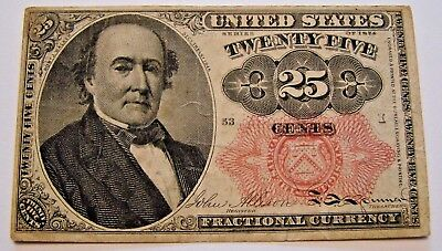 1875  25 Cent Fractional Currency Note F-1308 Fifth Issue Red Seal   Very Nice