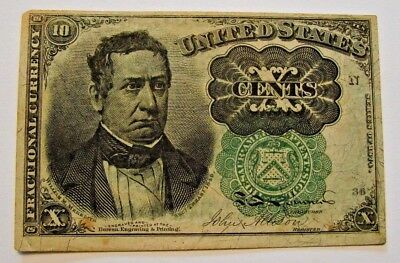 1874  10 Cent Fractional Currency Note F-1264 Fifth Issue Post Civil War Era