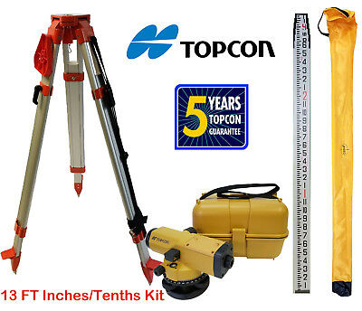 Topcon AT-B4A 24x Automatic Level with Tripod & 13 FT Combo Inches/Tenths Rod