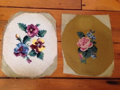 Pair Antique Vintage Hand Embroidered Floral Violets Needlepoint Seat Cover Art