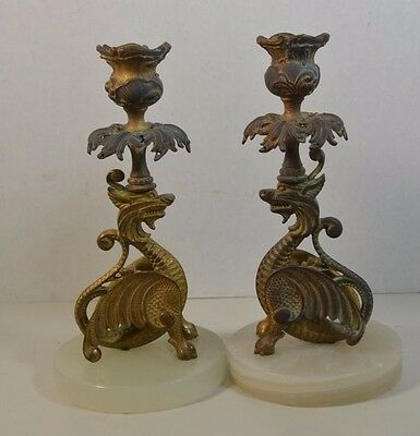Antique French Gilt Bronze Dragon Candlesticks on Marble Bases