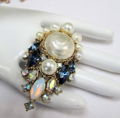 Large vintage gold metal, sapphire paste, a.b crystal, pearl brooch + necklace