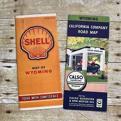 Lot of 2 Vintage Maps Wyoming WY State Shell Calso Gasoline Advertising Travel