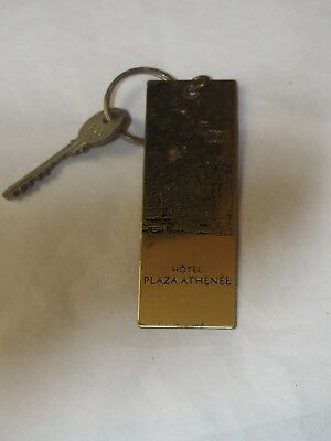 Vintage Brass Etched Room Key HOTEL PLAZA ATHENEE GREECE