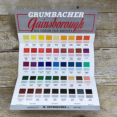 Vintage Grumbacher Gainsborough Brochure Oil Paint Colors