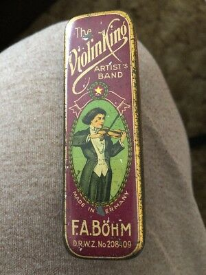 The Violin King Artist's Band Harmonica Tin box Case Made in Germany F.A. BOHM
