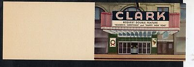 F728 bifold Linen greeting card from Clark Theater Chicago 1960