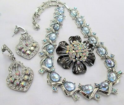 Good vintage silver metal, moonstone glass & a.b crystal collar necklace + 2