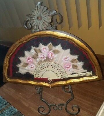 Vintage Lace Asian Folding Fan In Gilt Frame / Shadow Box, I can tell its going.