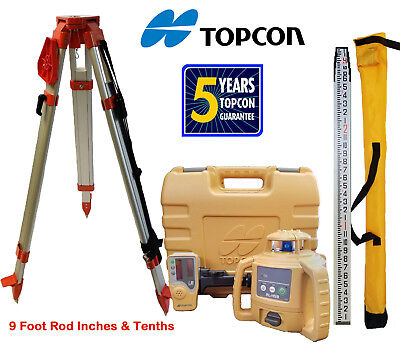 Topcon RL-H5B DB Laser Level PLUS Aluminum Tripod & 9 FT Inches/Tenths Rod
