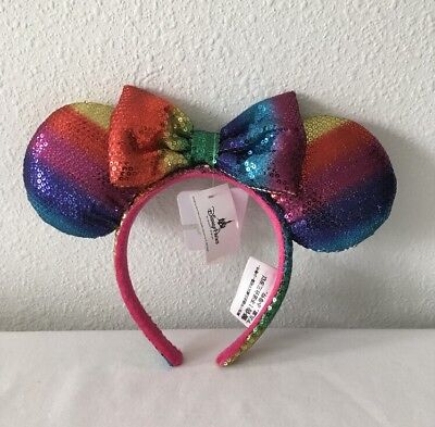 Disney Parks Sequin Rainbow Minnie Mouse Ear Head Band - New With Tags!