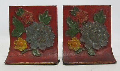 Antique Albany Foundry Cast Iron Polychrome Painted Flower Relief Bookends yqz