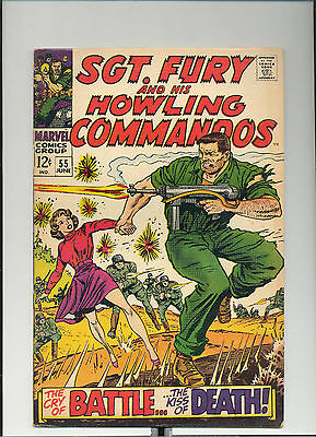 Sgt. Fury #55, (Jun 1968, Marvel), The Cry of Battle,The Kiss of Death, [4.0 VG]