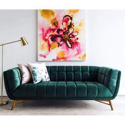 Edloe Finch Tribeca Mid Century Modern Emerald Green Velvet Tufted Sofa  $950+