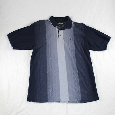 Knights Of Round Table Polo Vertical Stripe Blue Gray Men Size Xl