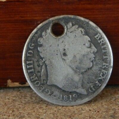 George III 1819 Sixpence made into A Pendant sterling silver