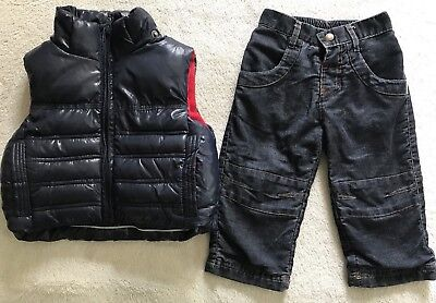 Size 0 Baby Boys Winter Fleecy Puffer Vest With Jack And Milly Pants.  In EUC.