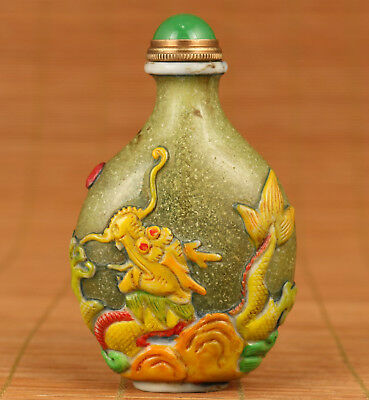 chinese old Big Coloured Glaze Hand Carved Dragon Statue Snuff Bottle