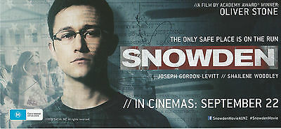 Promotional Movie Flyer - SNOWDEN (2016) **Oliver Stone, Joseph Gordon-Levitt**