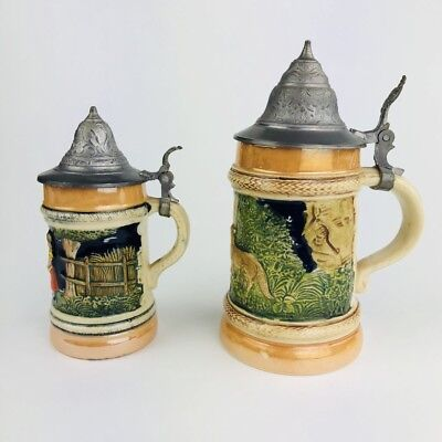 Pair Of Antique Vgt Pewter Topped German Beer Steins