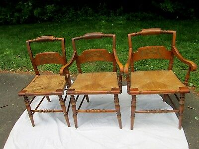 Antique Hitchcock Rush Chairs x 3 & ANTIQUE HITCHCOCK RUSH Chairs x 3 - $49.00 | PicClick
