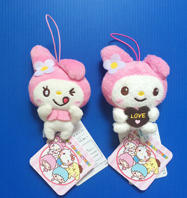 A pair of BNWT Sanrio Sega Japan 9cm Pink My Melody plush soft toy doll w strap