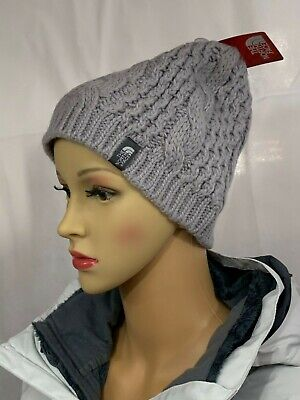 1c64f8abe3a North Face Women s Beanie Hat Knit Cable Minna One Size Metallic Silver New   35