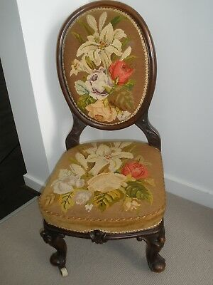 Antique Mahogany Bedroom Chair With Tapestry - Pick Up Vic