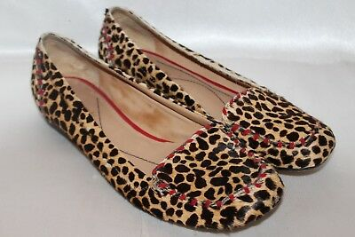 c1472d55556e KATE SPADE Leopard Calf Hair Leather Red Patent Whip Stitch Loafers Flats  Sz 7