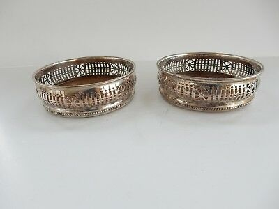 Pair Antique English Silver Wine Coasters Barker Ellis