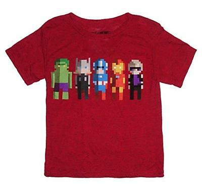 Marvel Avengers Pixels Youth Boys' Super Heroes Red Graphic T-Shirt