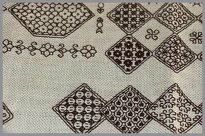 Vintage cream & brown wide weave embroidered place mat doily 46cm across.