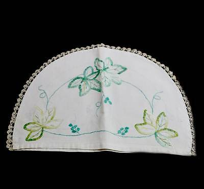 Vintage pretty green embroidered linen lace trim tea cosy or teapot cover