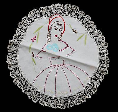 Vintage round embroidered large lace trim crinoline lady doily measuring 40cm