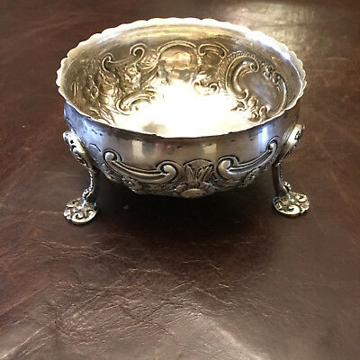 1889 Victorian Sterling Silver Embossed Paw Footed Sugar Bowl 156g  Lambert