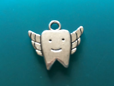 Tibetan Alloy Antique silver TOOTH FAIRY Charm Pendant double sided