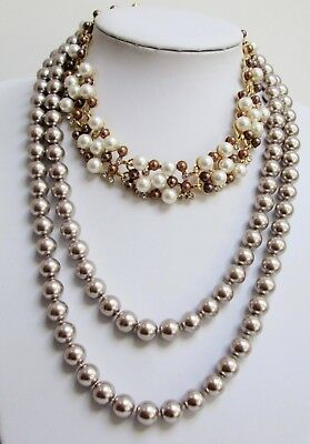 Large vintage hand knotted pearl necklace + gold metal & pearl collar necklace