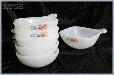 Vintage retro Pyrex milk glass set of 6 pink rose design ramekins 12cm across