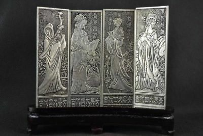 Decor Chinese Folk Miao Silver Luck Screen Set - Four beauties in ancient times