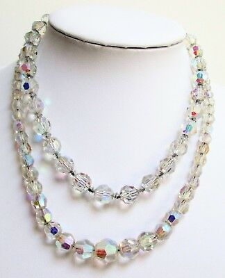 Two good quality vintage a.b crystal bead necklaces