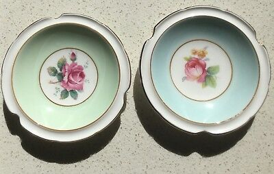 2 X PIN DISH - PARAGON - ROSE DESIGN w GOLD TRIM - VINTAGE