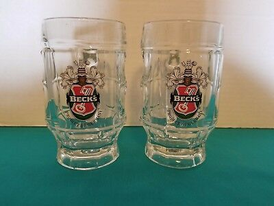 Beck's Beer Textured Glass Beer Mugs Set of 2 0.25L BARWARE