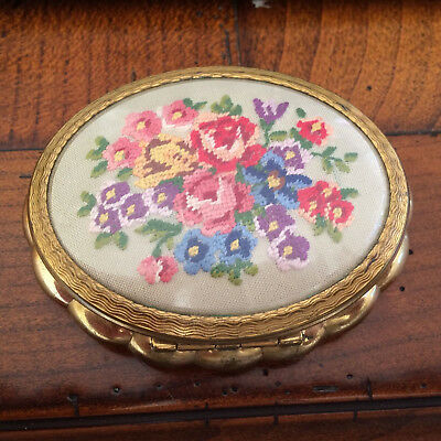 Vintage Powder Compact (1940's) has a Floral Tapestry Needpoint work on lid
