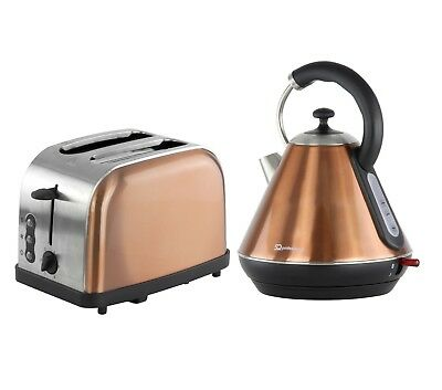Copper 1.8L Kettle And 2 Slice Toaster Breakfast Set Fast Boil Washable Filter
