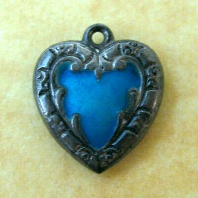 Antique Victorian Sterling Silver Turquoise Enamel Puffy Heart Charm Engraved JM