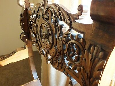 Stunning Antique Heavily Carved Wood X Framed Throne Chair