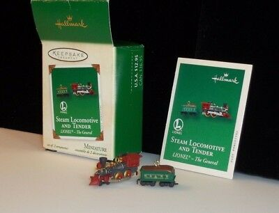 Hallmark Miniature Lionel Train The General Steam Locomotive Tender Ornament Set